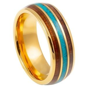 Gold Plated with Rose Wood Tungsten Wedding Band